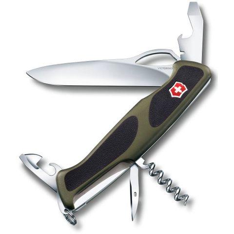 Нож перочинный Victorinox RangerGrip 61 (0.9553.MC4) 130мм 11функций зеленый/черный