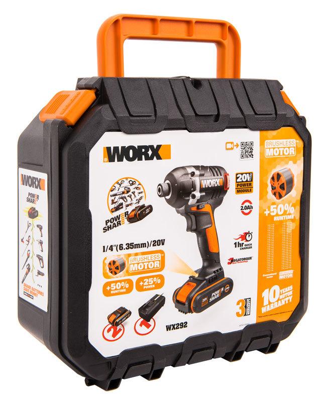 Винтоверт аккумуляторный WORX WX292, 20В, бесщеточный, 2Ач x2, кейс
