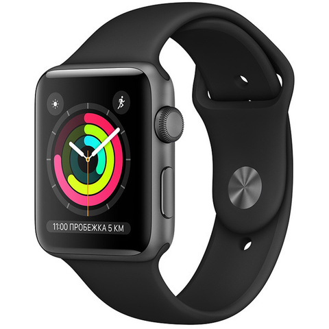 Watch S3 42mm Space Gray Al/Black Sport Band