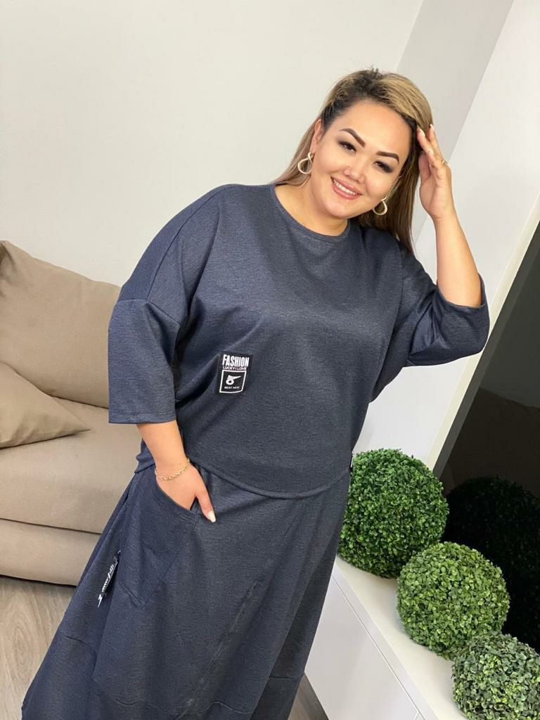 Костюм Salis 151-50 блузка+юбка спорт однотон