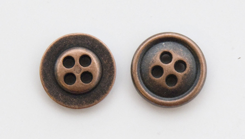 Пуговица металлическая, двусторонняя, цвет медный, 12 мм