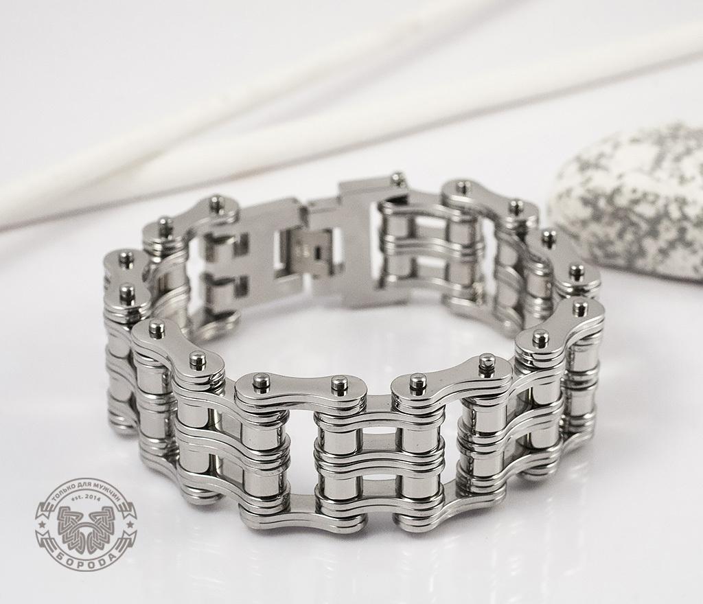 BM307 Широкий мужской браслет цепь из стали (22,5 см) фото 04