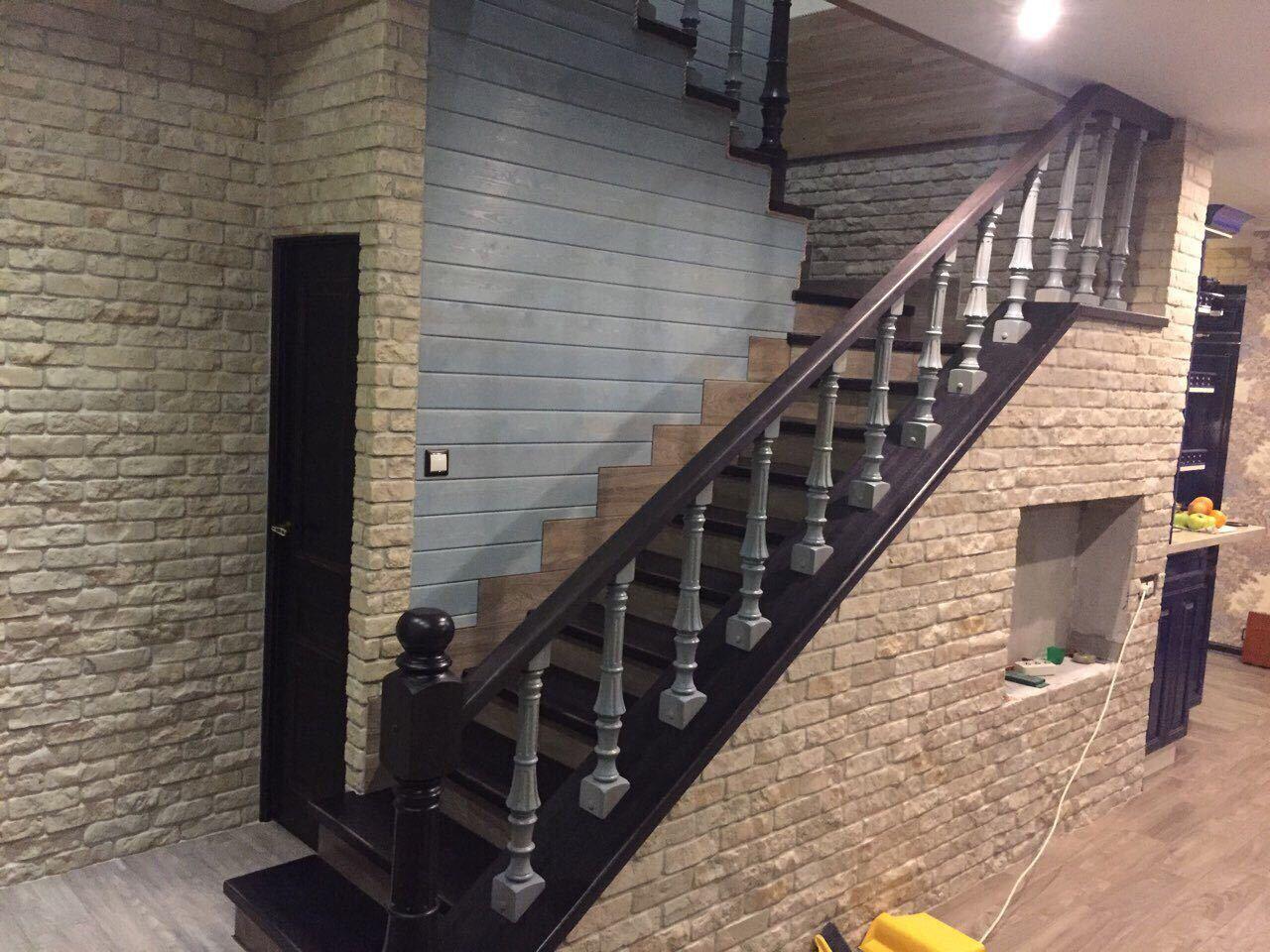 Отделка бетонной лестницы дубом