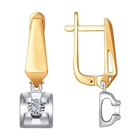 1021248 - Серьги из комбинированного золота с бриллиантами