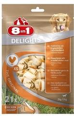 Лакомство для собак, 8in1 DELIGHTS XS, косточки с куриным мясом для мелких собак. 7,5 см 21 шт (пакет)