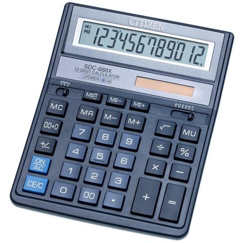 Калькулятор настольный ПОЛНОРАЗМЕРНЫЙ Citizen SDC-888XBL 12-разрядный синий
