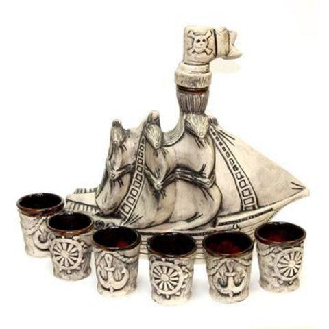 Штоф с рюмками «Корабль», 7 предметов