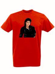 Футболка с принтом Майкл Джексон (Michael Jackson) красная 001