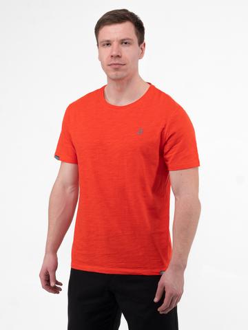 Мужская футболка «Великоросс» кораллового цвета круглый ворот