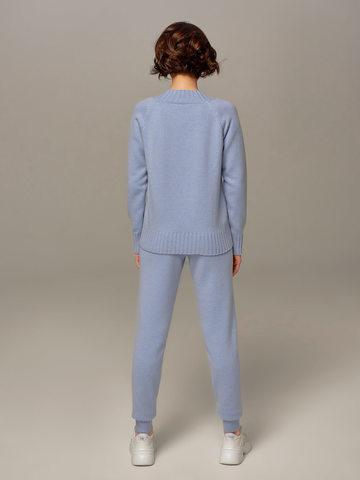 Женский джемпер голубого цвета из шерсти и кашемира - фото 5