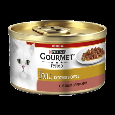 Gourmet Gold Консервы для кошек с Уткой и оливками Кусочки в соусе