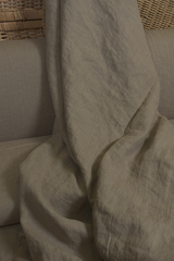 Ткань льняная, с эффектом мятости, цвет:  кофе с молоком