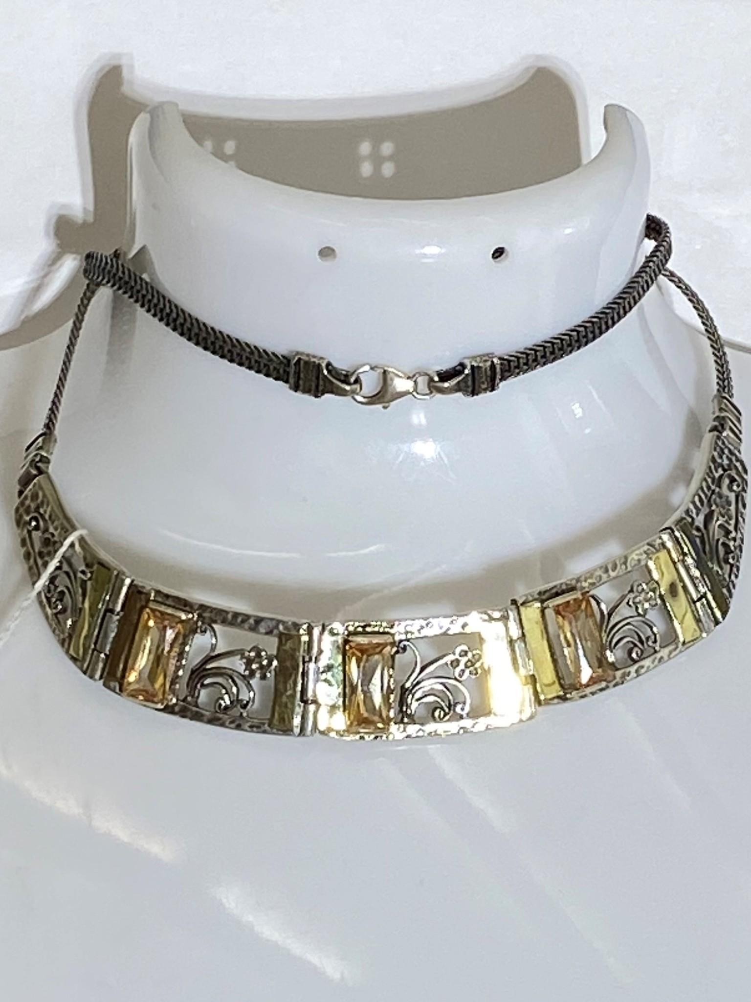 Циркон 902 (колье из серебра/золота)