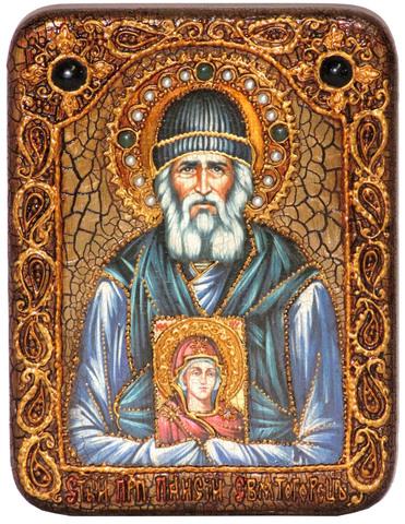 Инкрустированная икона Паисий Святогорец 20х15см на натуральном дереве в подарочной коробке