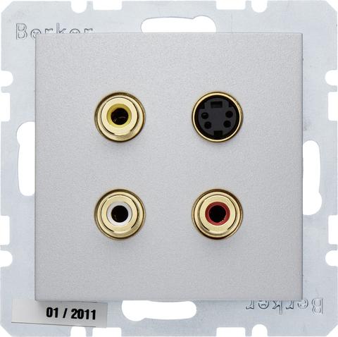 Розетка тройная RCA/S-Video. Цвет Алюминий. Berker (Беркер). S.1 / B.3 / B.7. 3315321404