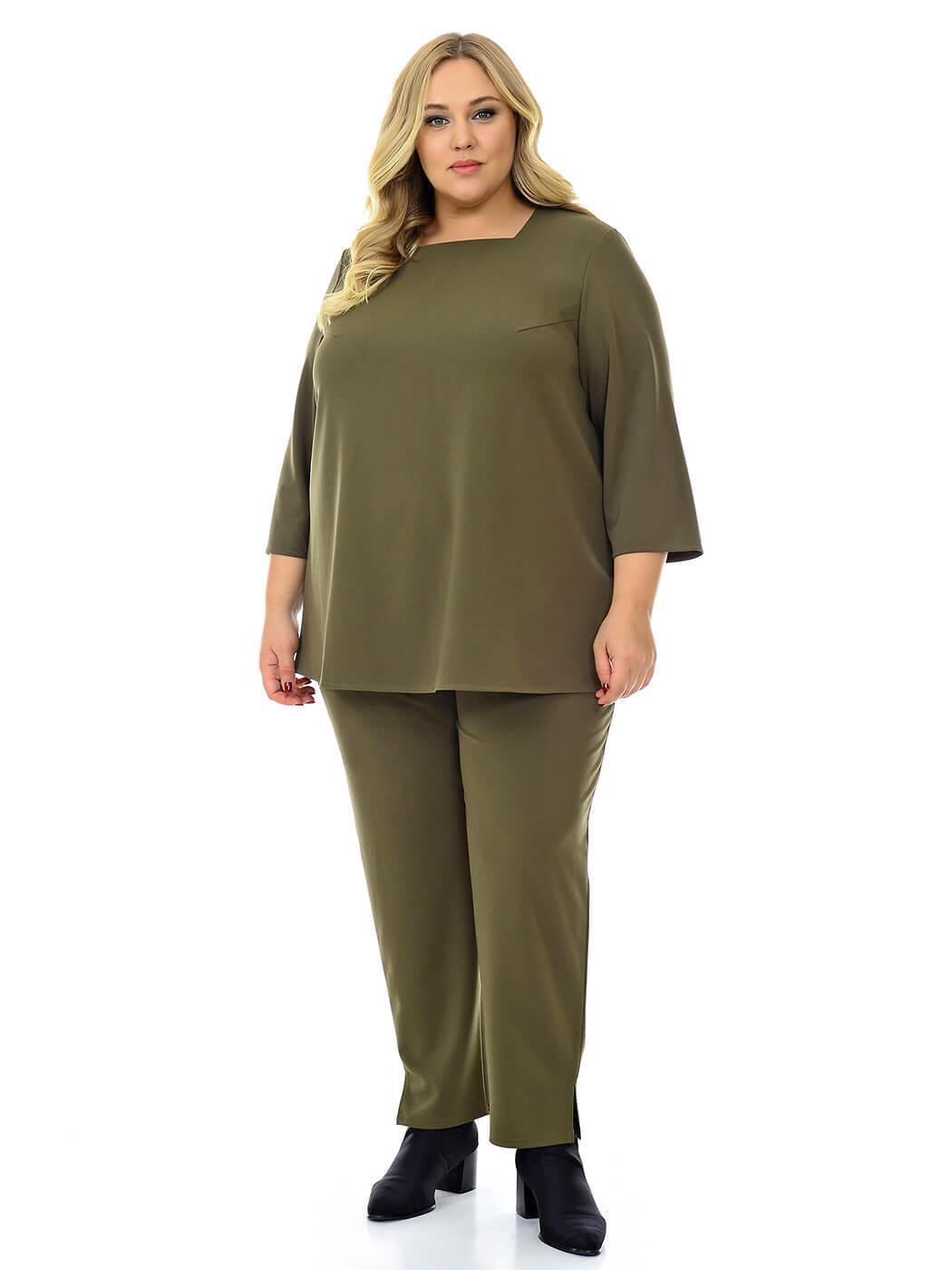 Женские брюки цвета хаки больших размеров