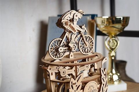 Автоматон Велосипедист - Деревянный конструктор, сборная модель, 3D пазл, кубок велогонок