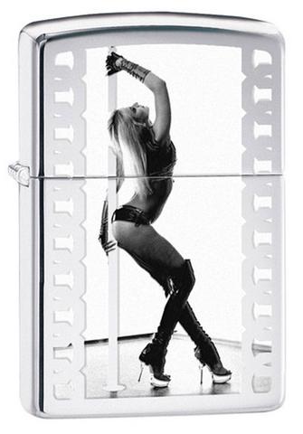 Зажигалка Zippo Pole Dancer, латунь, серебристая, глянцевая, 36х12x56 мм