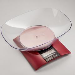 Весы электронные настольные 3 кг АКСИНЬЯ КС-6505 с чашей, бордовые