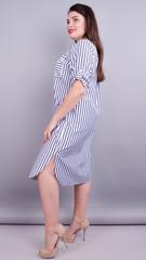 Любава. Стильна сукня-сорочка великих розмірів. Синя смуга.