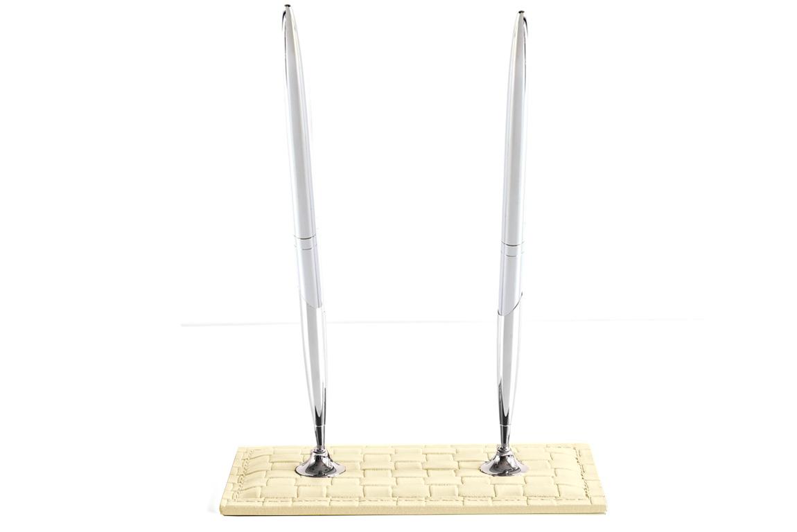 Подставка для двух ручек из кожи цвет treccia/слоновая кость