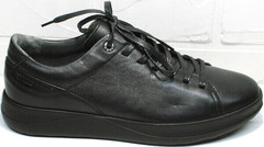 Чисто черные кроссовки кеды кожаные мужские демисезонные Ikoc 1725-1 Black.