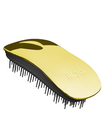 Ikoo Расческа-детанглер для бережного расчесывания золотое солнце Home Soleil Black Metallic