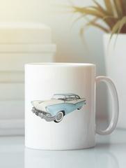 Кружка с рисунком Кадиллак (Cadillac) белая 003
