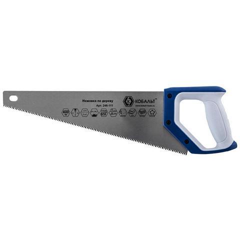 Ножовка по дереву КОБАЛЬТ 400 мм, шаг 3,5 мм/ 7 TPI, закаленный зуб, 3D-заточка, двухкомпо (246-111)