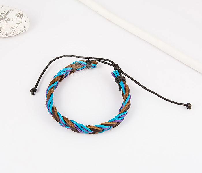 SL0185 Яркий плетеный мужской браслет из натуральной кожи, «Spikes» фото 02