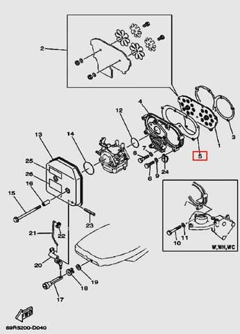 Прокладка впускного коллектора для лодочного мотора Т30 Sea-PRO (4-5)