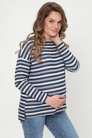 Лонгслив для беременных 12066 голубая полоска