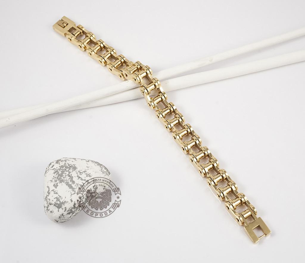 BM308 Стильный браслет-цепь из стали золотого цвета (23 см) фото 02