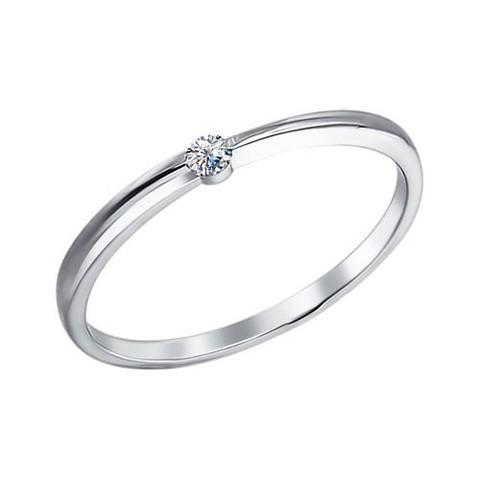 94010628 - Изящное, тонкое  кольцо из серебра с фианитом