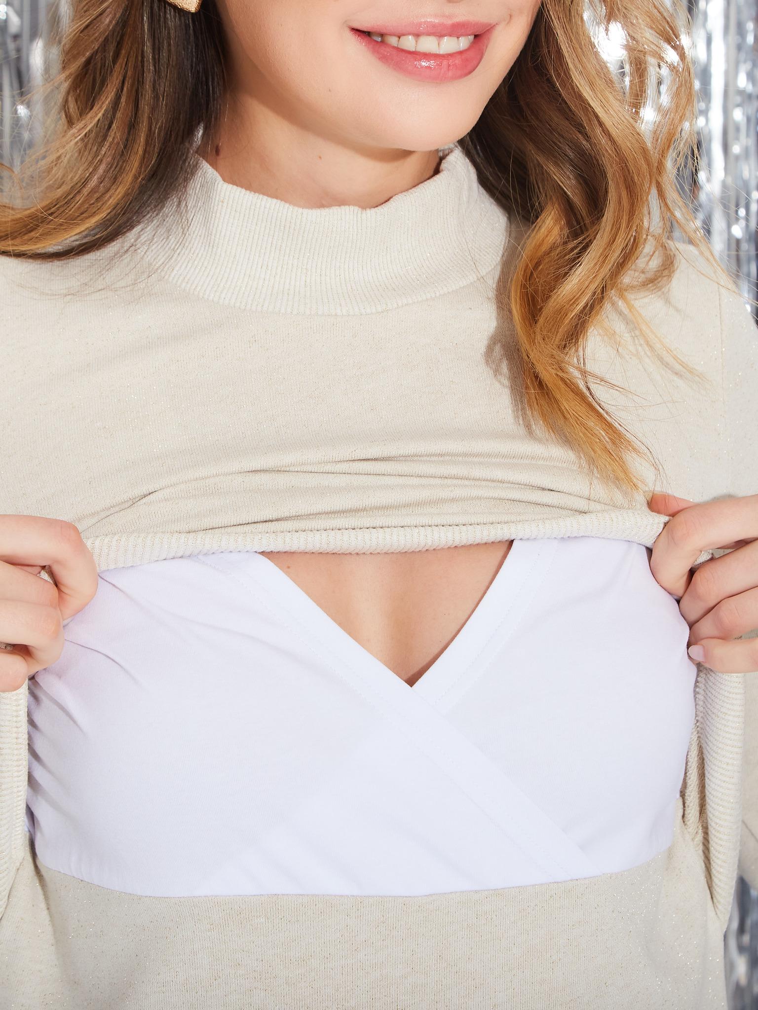 Chic mama Нарядное трикотажное платье для кормящих мам с секретом для кормления