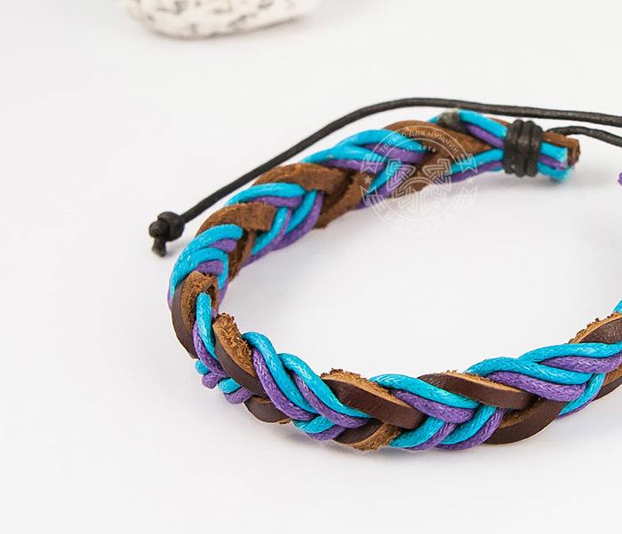 SL0185 Яркий плетеный мужской браслет из натуральной кожи, «Spikes» фото 04