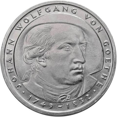 5 марок. 150 лет со дня смерти Иоганна Вольфганга фон Гёте (D). Медноникель. 1982 г. AU