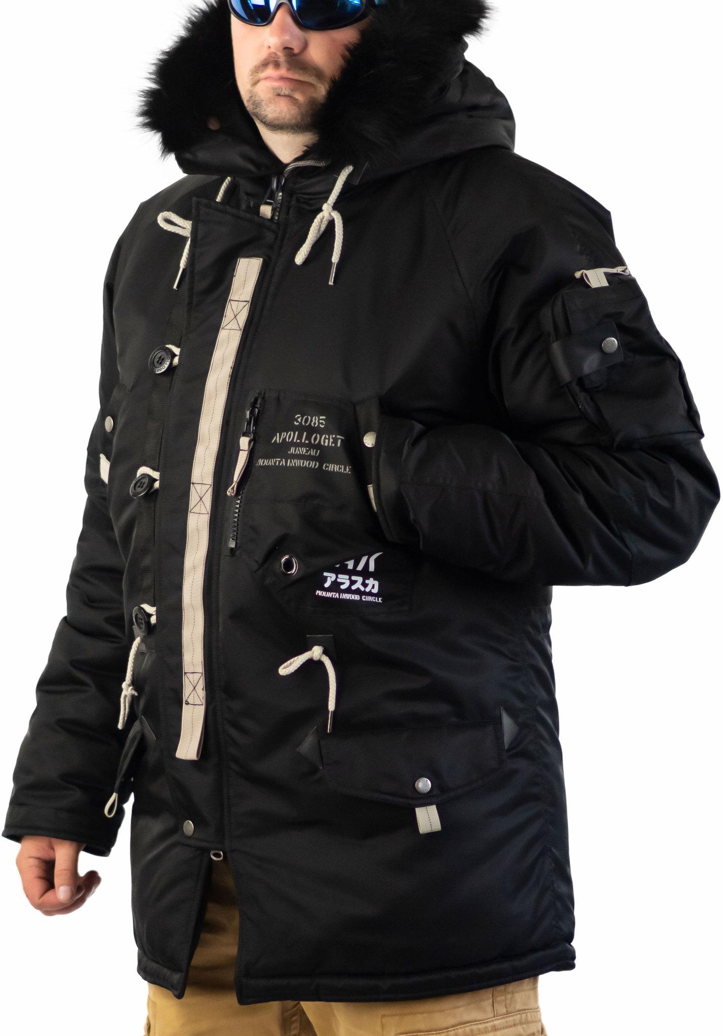 Куртка мужская зимняя Apolloget Sapporo (черная - black)