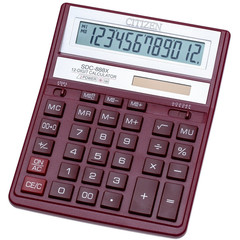 Калькулятор настольный ПОЛНОРАЗМЕРНЫЙ Citizen SDC-888XRD 12-разрядный бордовый