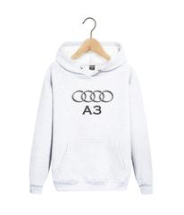 Толстовка белая с капюшоном (худи, кенгуру) и принтом Aуди А3 (Audi A3) 002