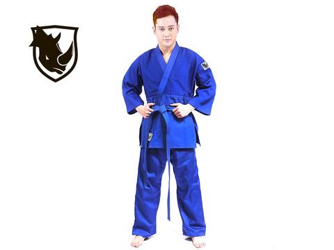 Кимоно дзюдо RHINO. Цвет синий. Размер 32-34. Рост 135.
