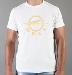 Футболка с принтом Опель (Opel) белая 0010