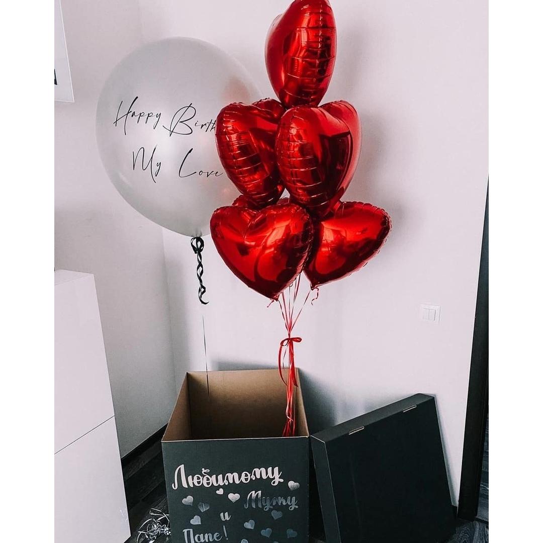 Коробка-сюрприз с красными сердцами