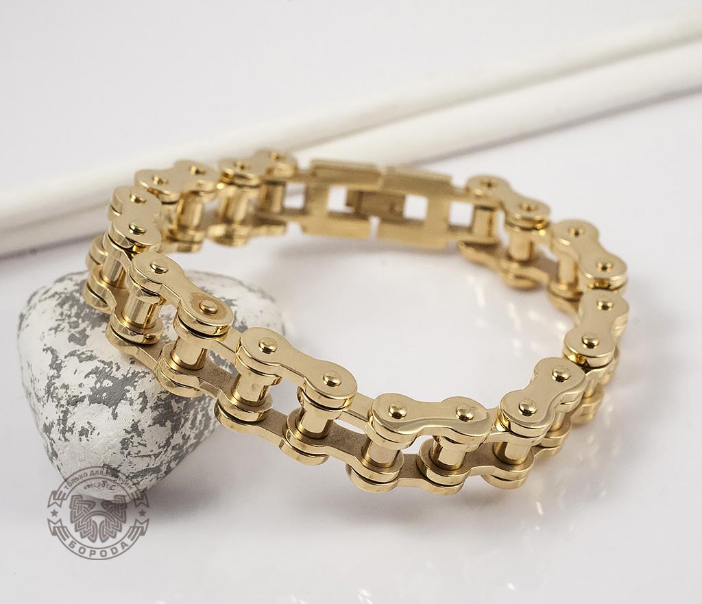 BM308 Стильный браслет-цепь из стали золотого цвета (23 см) фото 03