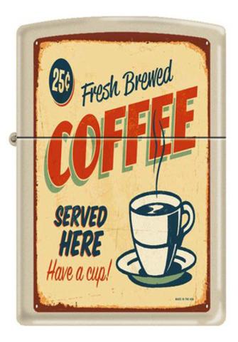 Зажигалка Zippo Coffee vintage, латунь с покрытием Cream Matte, кремовая, матовая, 36x12x56 мм