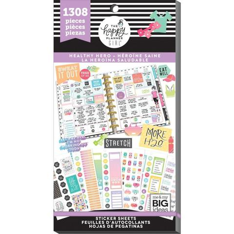 Блокнот со стикерами для ежедневника Create 365 Happy Planner Sticker Value Pack-BIG - Healthy Hero, 1308 шт