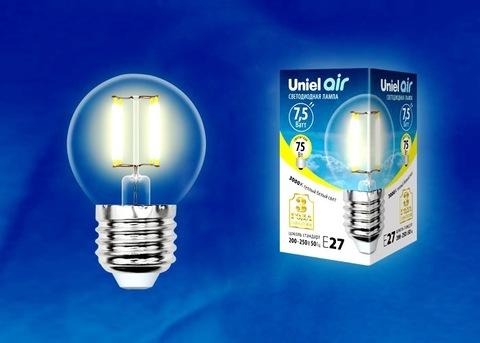 Uniel Лампа LED-G45-7,5W/WW/E27/CL Air (теплый свет)