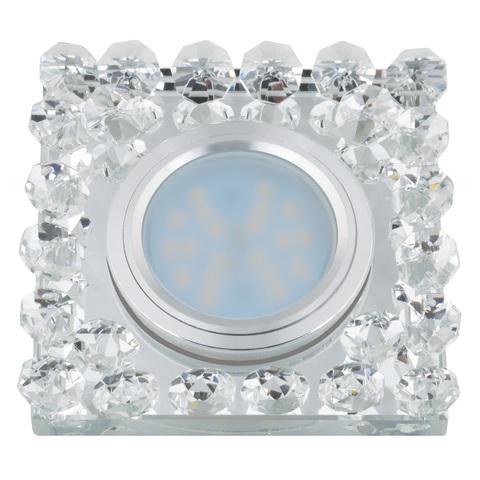 DLS-L131 GU5.3 CHROME/CLEAR Светильник декоративный встраиваемый, серия Luciole. Без лампы, цоколь GU5.3. Доп. светодиодная подсветка 3Вт. Металл/стекло. Хром/белый. ТМ Fametto