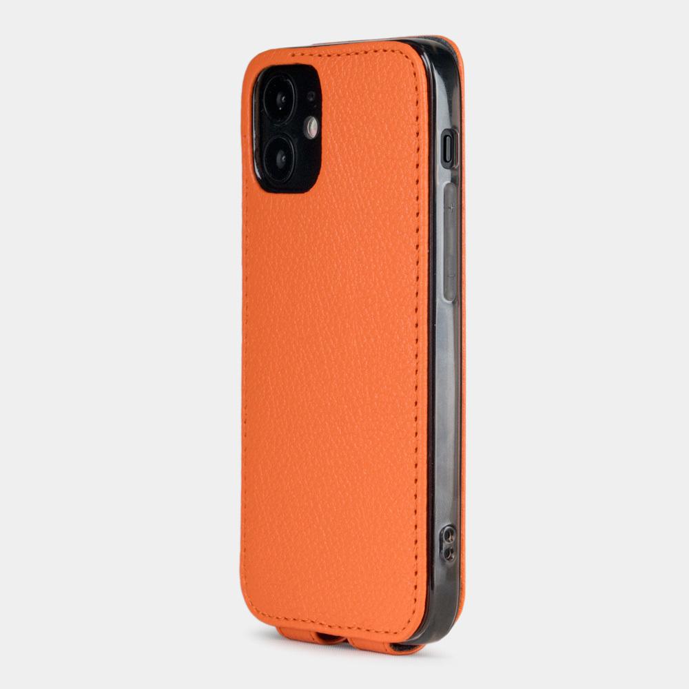 Чехол для iPhone 12 Mini из натуральной кожи теленка, оранжевого цвета