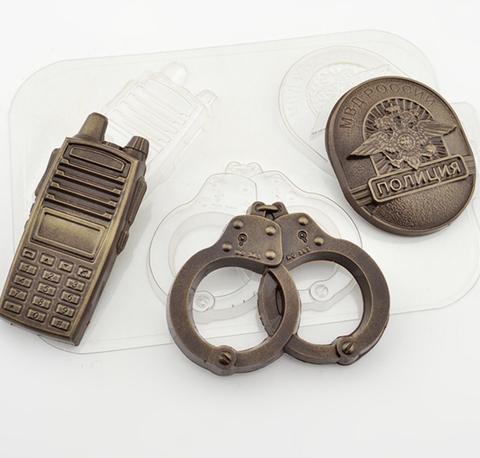Пластиковая форма для шоколада ср, НАБОР ПОЛИЦИЯ (наручники, рация, жетон)